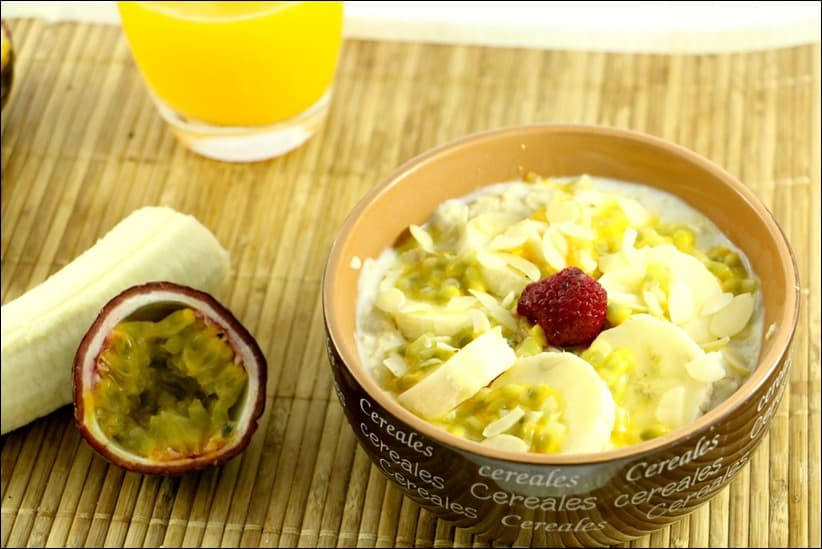 porridge à la banane et fruit de la passion