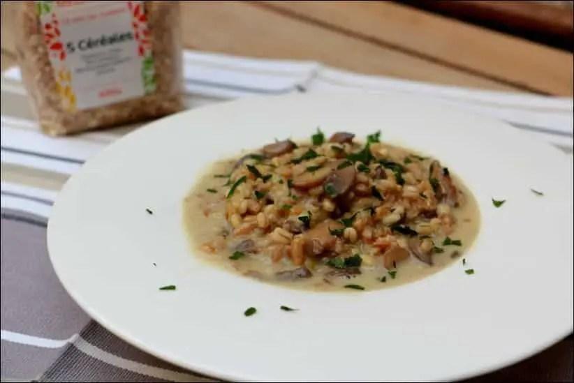 risotto de céréales aux champignons mozzarella et parmesan