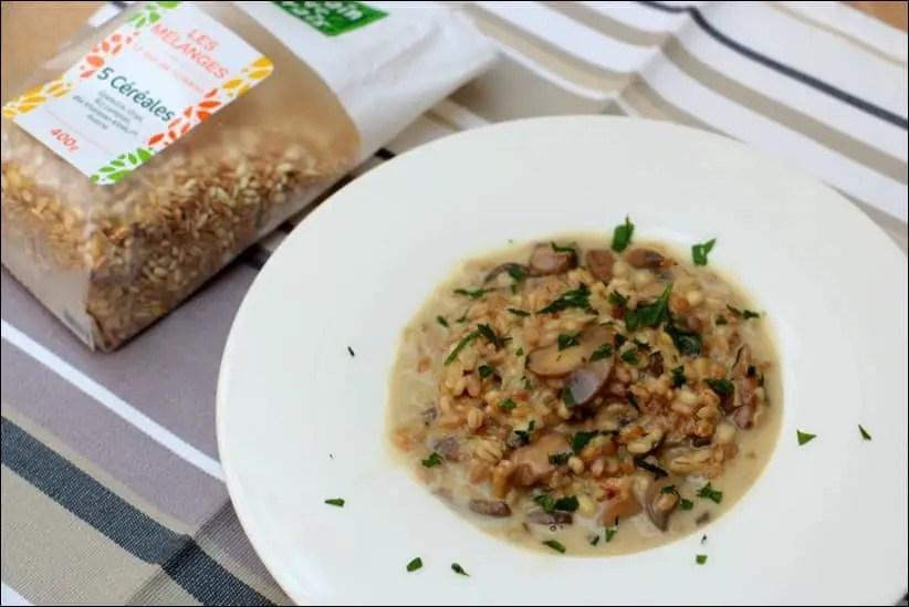 risotto céréales champignons parmesan