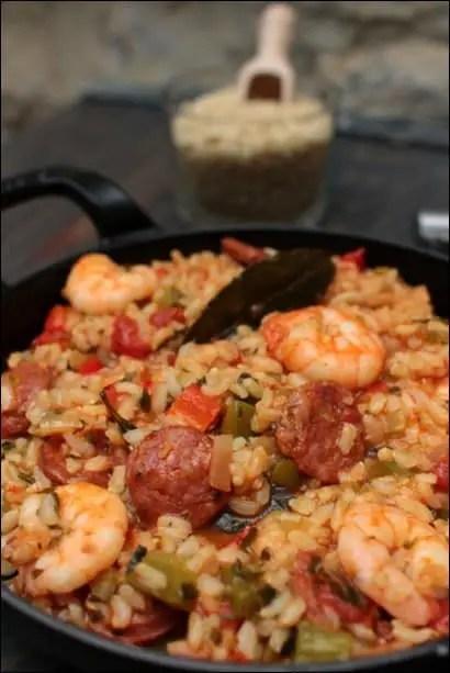 riz aux crevettes et chorizo