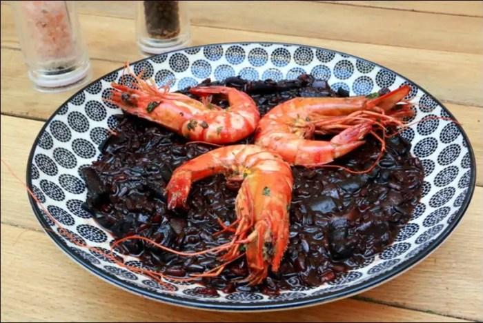 riz noir calamar crevettes