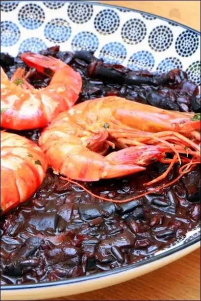 riz noir aux crevettes