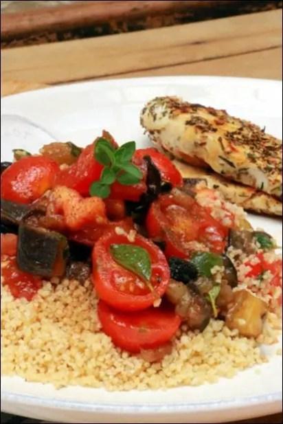 salade aubergine tomate olive