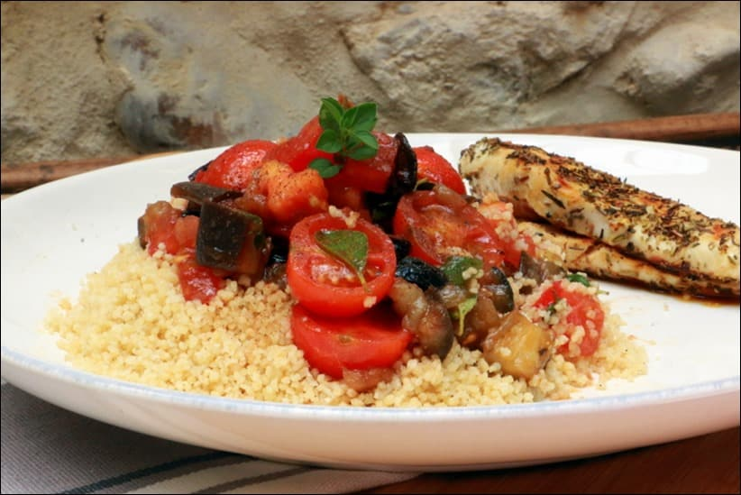 salade d'aubergines aux tomates et olives noires