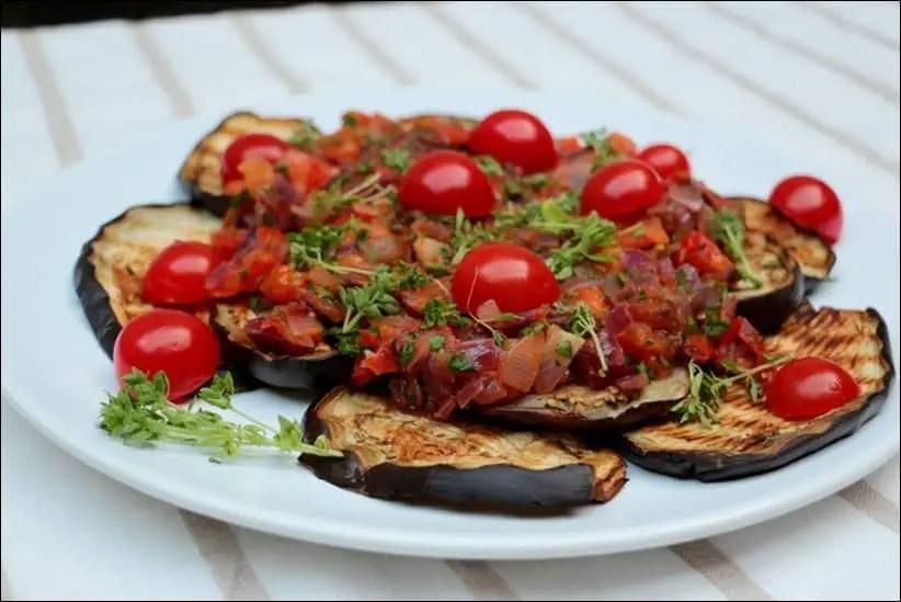 salade d'aubergiine et tomates