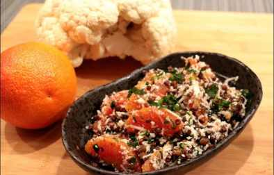 salade de lentilles noires chou-fleur et orange