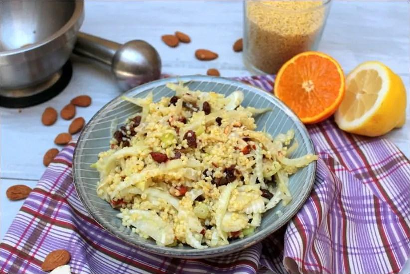 Salade de fenouil, millet et raisins secs