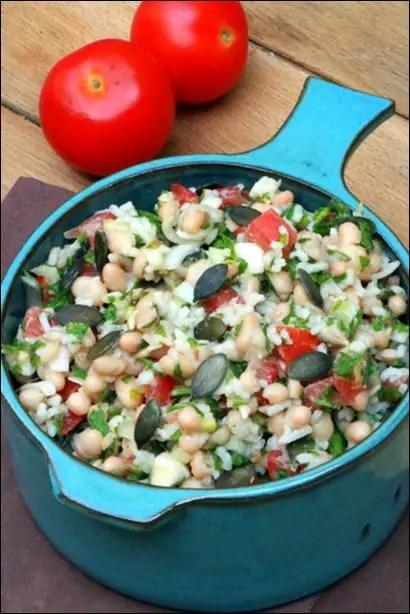 salade riz tomates haricots blancs