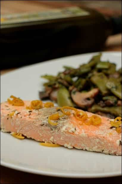 saumon confit dans l'huile d'olive