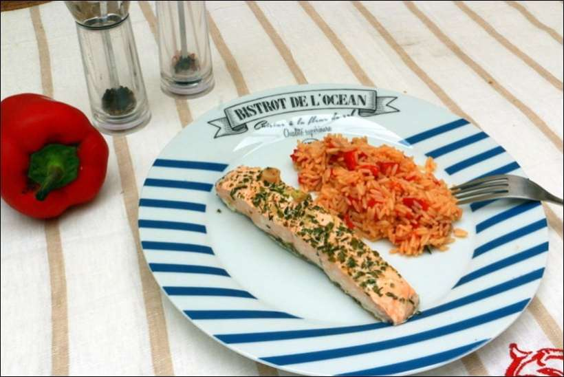 saumon vapeur riz