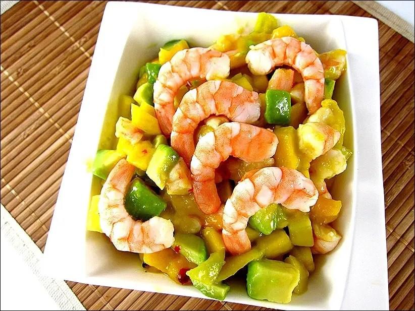 salade de crevette mangue citron vert
