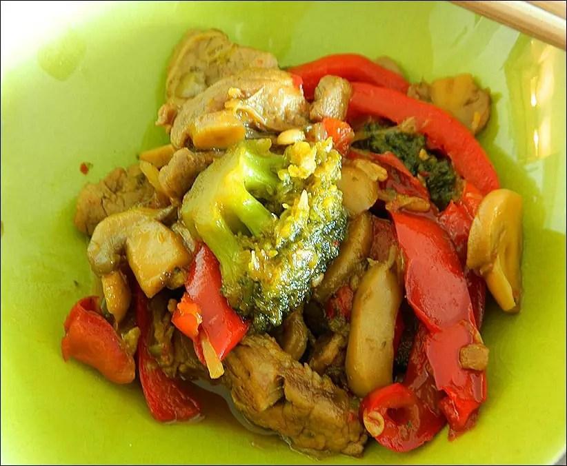 porc caramel legumes