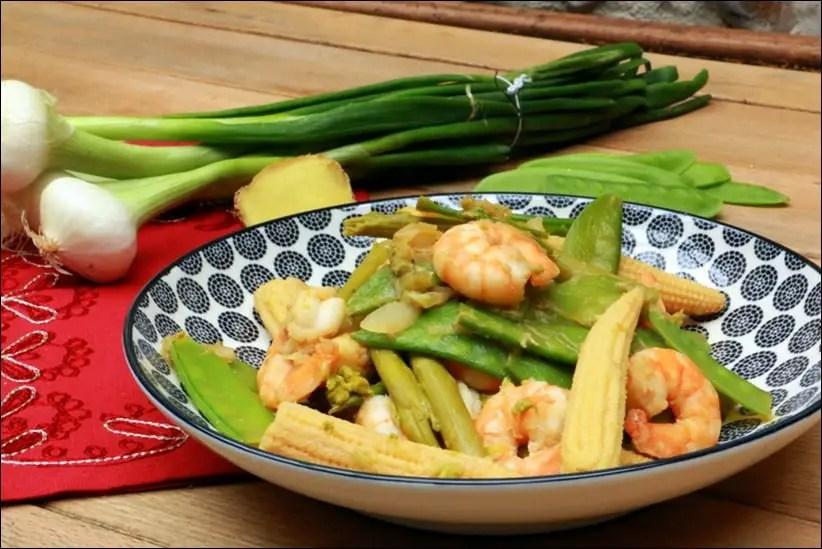 wok crevettes pois gourmands