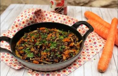 wok de riz sauvage aux légumes curry et lait de coco