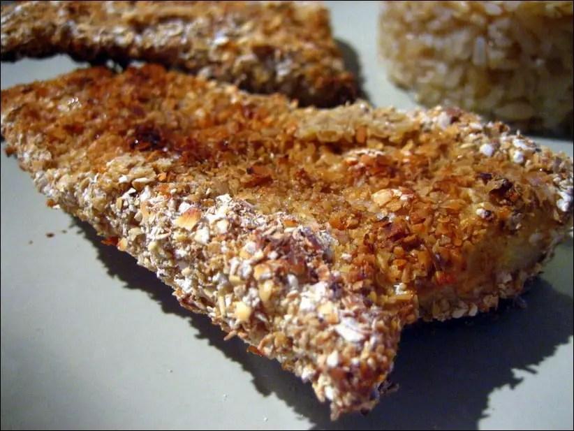 filet de poisson pané au son d'avoine et à la coriandre