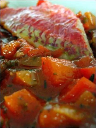 gratin rouget poivron tomate