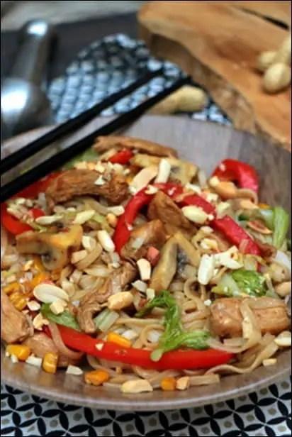 recette wok poulet nouilles gingembre
