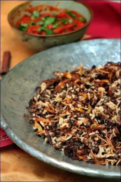 riz lentilles oignons frits