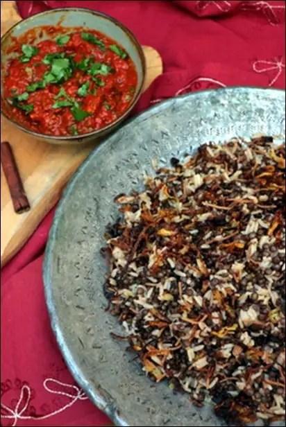 riz lentilles sauce tomate