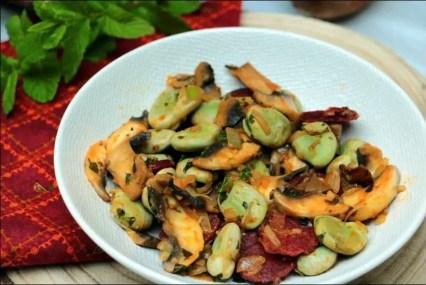 fèves champignons chorizo