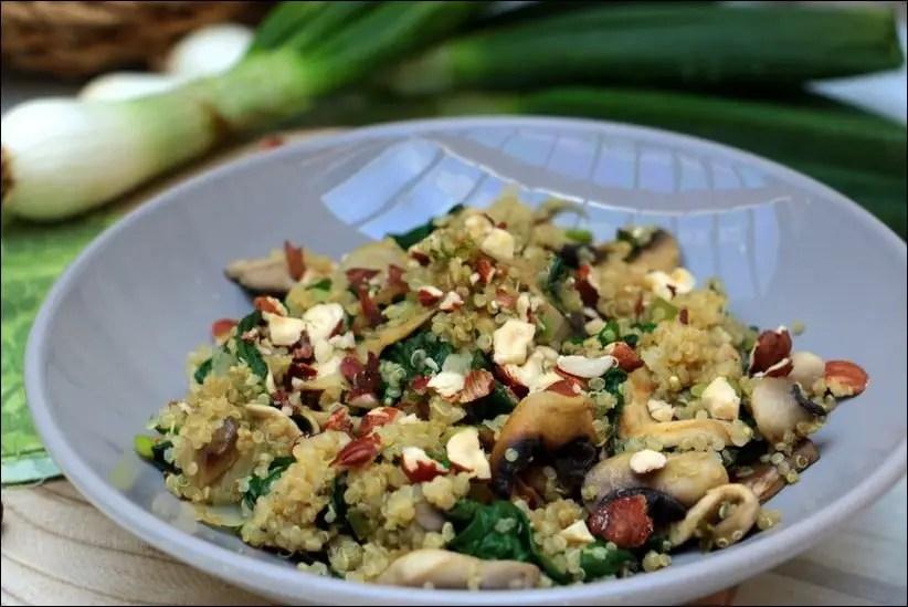quinoa epinard champignon