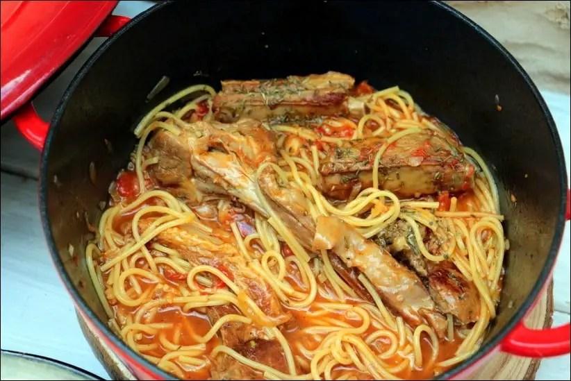 cotelette d'agneau et spaghetti