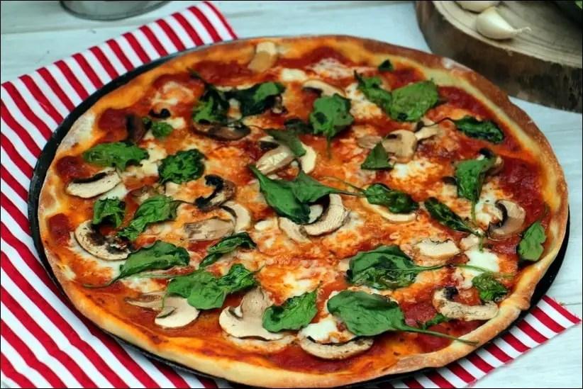 pizza champignons epinards