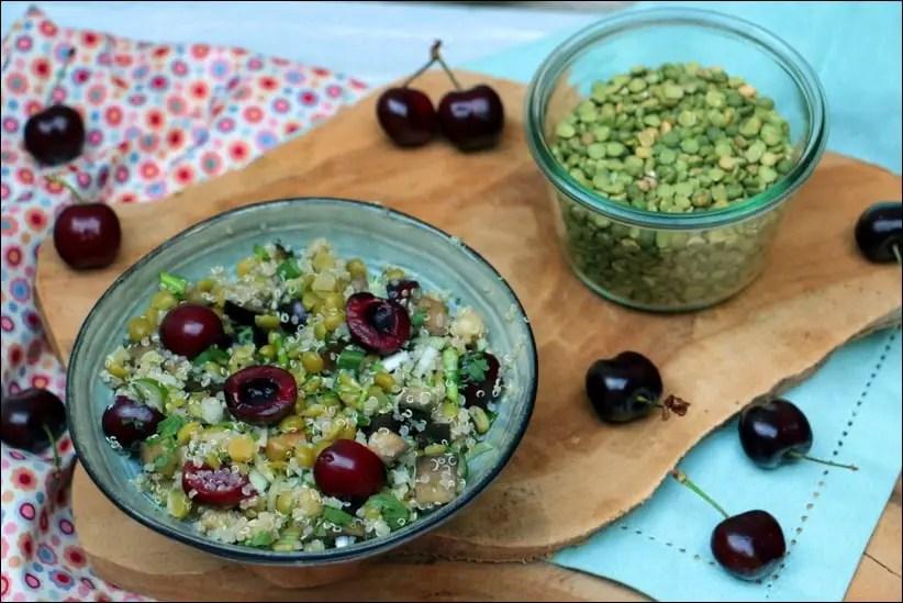 salade de pois cassés, quinoa et cerises