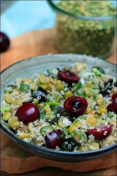 salade de pois cassés quinoa et cerises