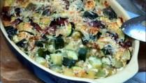 gratin de courgettes aux lardons et moutarde à l'ancienne