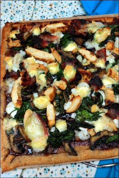 pizza poulet epinard