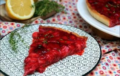 tarte aux fraises rôties et au thym