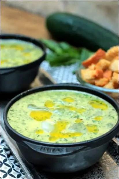 soupe froide épinards concombre