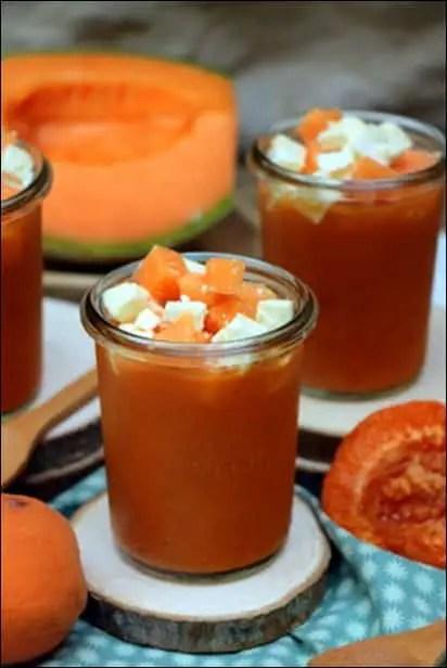 soupe froide melon sucré salé abricot feta