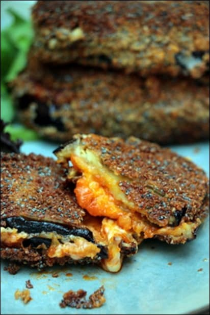 aubergine mozzarella poele