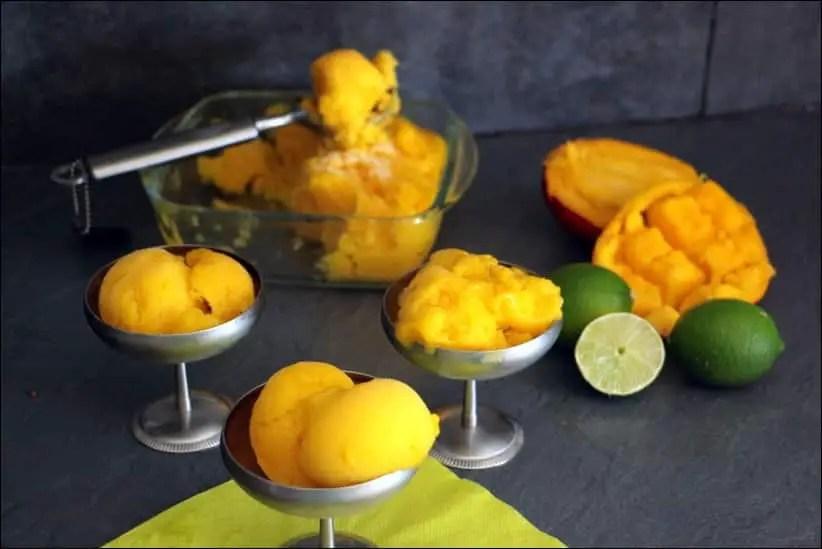 sorbet mangue citron vert à la sorbetière