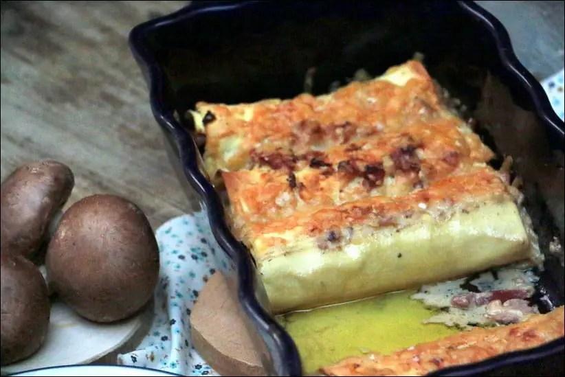 gratin de cannelloni jambon champignons et creme