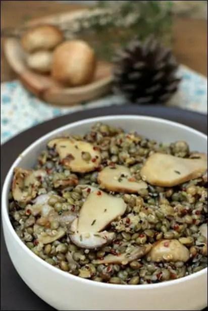 salade lentilles quinoa cèpes