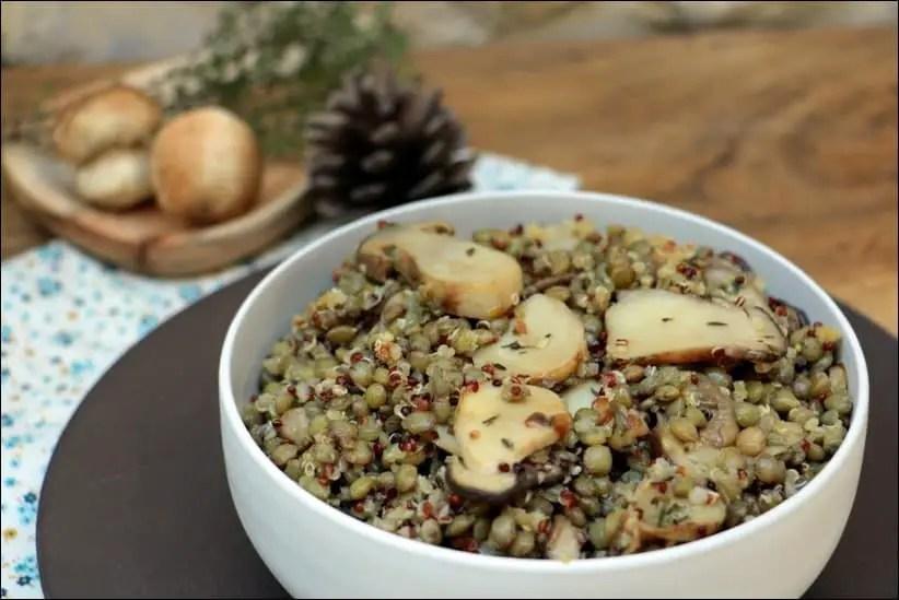 salade lentilles quinoa champignons