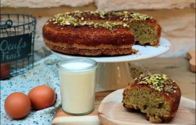 gâteau moelleux à la pistache et fleur d'oranger