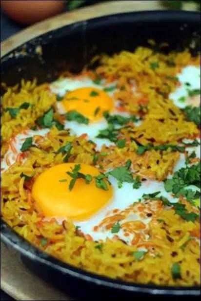 riz oeuf au plat