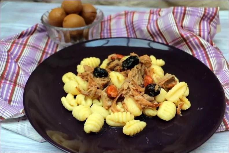 gnocchi en sauce au poulet et citron confit