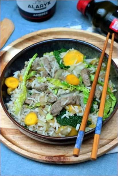 wok boeuf légumes croquants