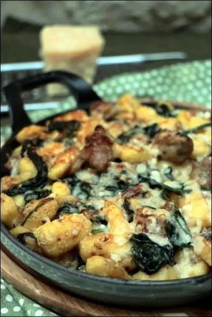 gnocchi chipolatas epinard parmesan