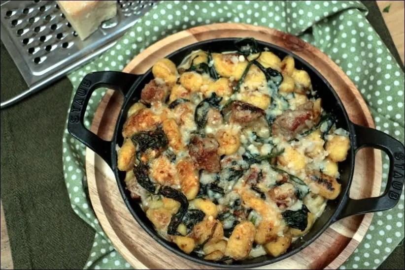 gnocchi gratinés saucisse epinard parmesan