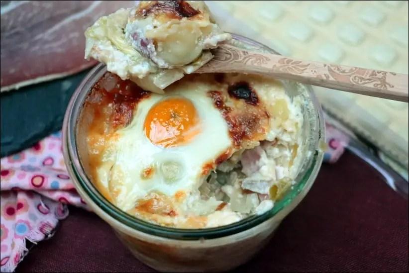 oeufs cocotte aux ravioles et jambon cru