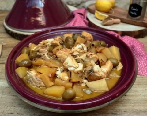 tajine de poisson aux pommes de terre et olives