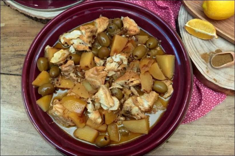 tajine cabillaud pommes de terre citron olives