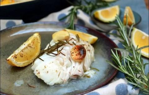 cabillaud rôti au citron ail et romarin