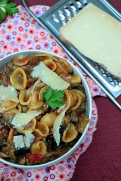 one pot pasta aubergines champignons